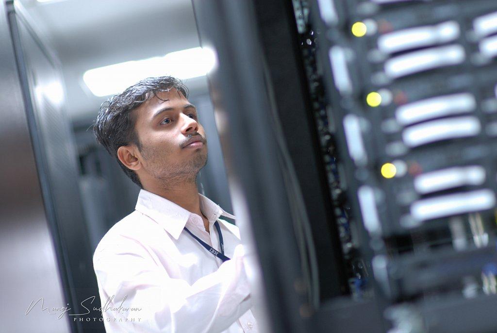 Network engineer at work
